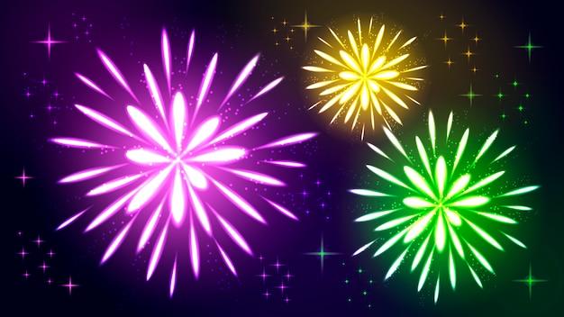 Sfondo realistico con sfondo colorato di fuochi d'artificio.