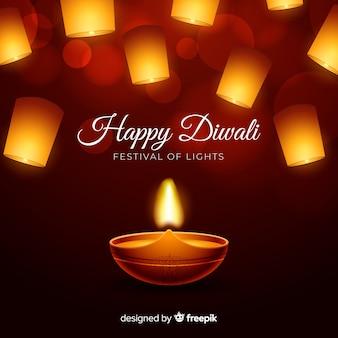 Sfondo realistico di diwali con luci