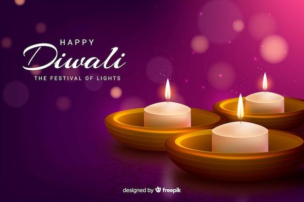 Sfondo realistico di diwali con macchie di polvere sfocate