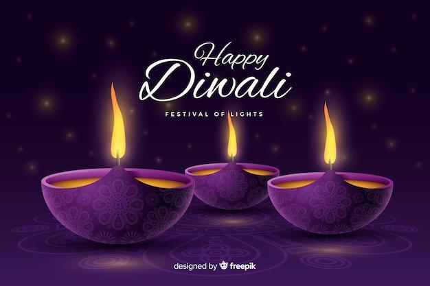 Sfondo realistico di diwali festivo con candele