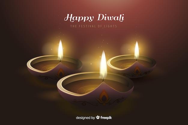 Sfondo realistico di diwali in una luce romantica