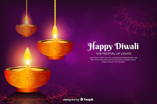Sfondo realistico di festa di diwali con le candele