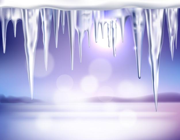 Sfondo realistico di inverno con ghiaccioli