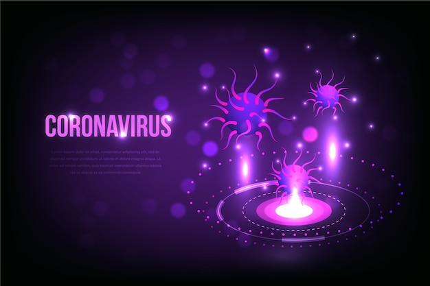 Sfondo realistico ologramma coronavirus