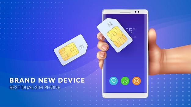 Sfondo realistico sim card di memoria con il migliore dispositivo dual sim telefono titolo doppia illustrazione