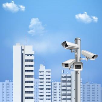 Sfondo realistico telecamera di sorveglianza