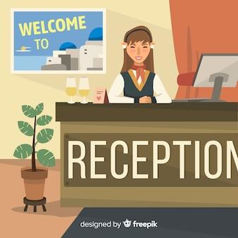 Sfondo receptionist appartamento piatta