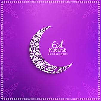 Sfondo religioso di eid mubarak con falce di luna