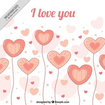 Sfondo romantico con palloncini a forma di cuore