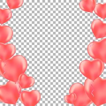 Sfondo romantico con palloncini cuore rosa.