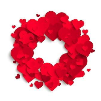 Sfondo romantico, cuori di carta rossa