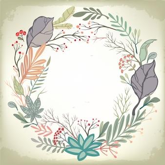 Sfondo romantico vintage con cornice floreale e abbellimenti. disegno vettoriale di nozze