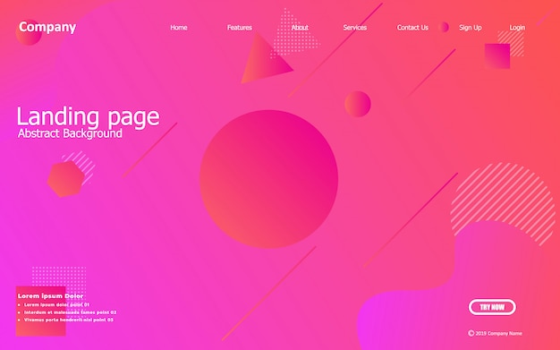 Sfondo rosa. composizione liquida disegni per landing page, poster, volantini, illustrazioni vettoriali