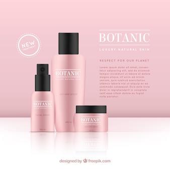 Sfondo rosa con prodotti cosmetici