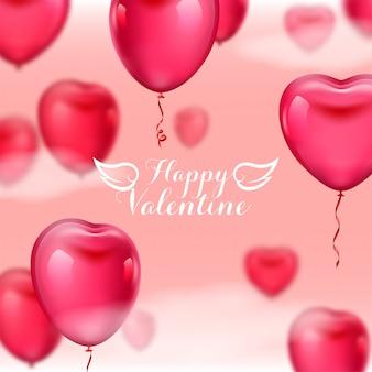 Sfondo rosa di san valentino con palloncini 3d realistici a forma di cuore su sfondo rosa