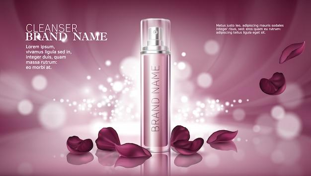 Sfondo rosa lucido con prodotti cosmetici premium idratanti
