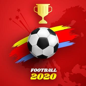 Sfondo rosso con pallone da calcio e tratto di vernice colorata. illustrazione.