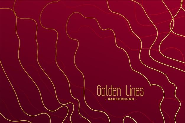 Sfondo rosso di lusso con linee di contorno dorate