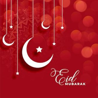 Sfondo rosso eid mubarak con decorazioni luna e stelle