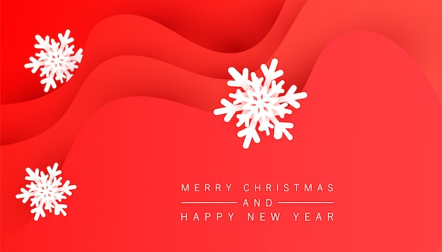 Sfondo rosso festivo minimalista invernale con forme d'onda liquide e fiocchi di neve volumetrici per poster, banner, volantini, carta.