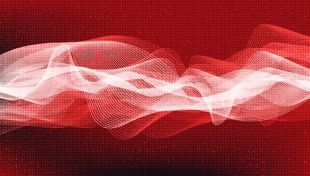 Sfondo rosso scuro dell'onda sonora digitale, tecnologia e diagramma delle onde del terremoto e concetto di cuore in movimento