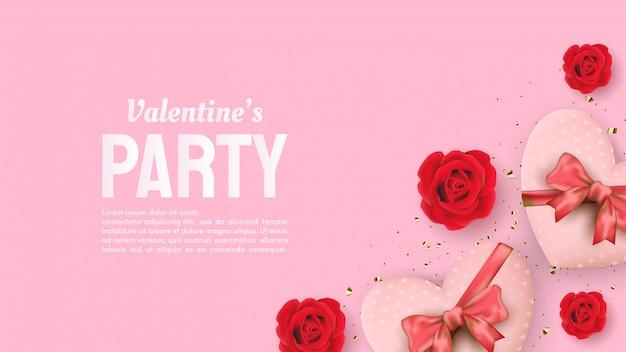 Sfondo san valentino con illustrazioni di rose rosse e scatole regalo a forma di amore.