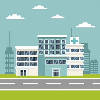 Sfondo scena della città con edifici e ospedali