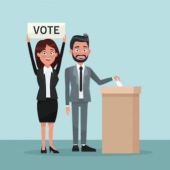 Sfondo scena uomo in abito formale voto in urna per candidato e donna con banner