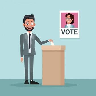 Sfondo scena uomo in abito formale voto per candidata
