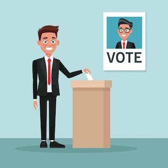 Sfondo scena uomo in tuta votare per candidato maschile