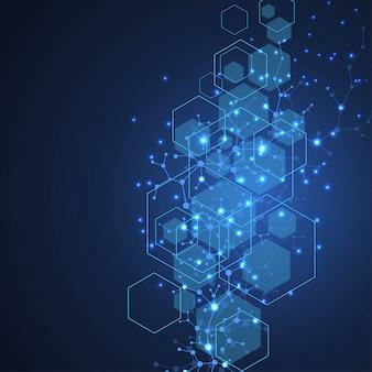 Sfondo scientifico della molecola illustrazione della doppia elica del dna con profondità di campo bassa. carta da parati o banner misteriosa con molecole di dna. vettore di informazioni sulla genetica