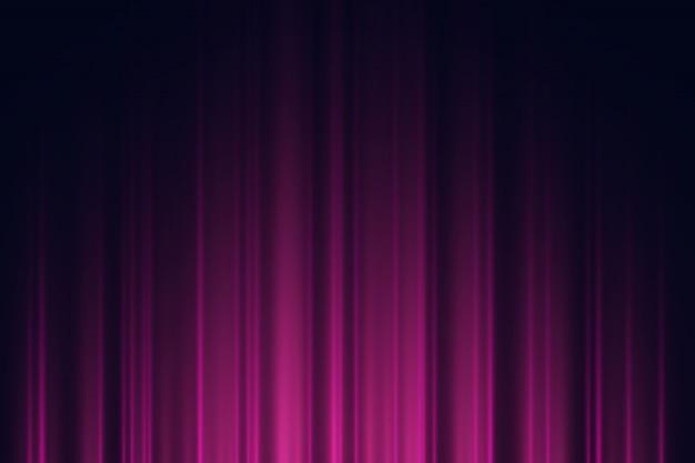 Sfondo scuro con luci al neon viola e viola.