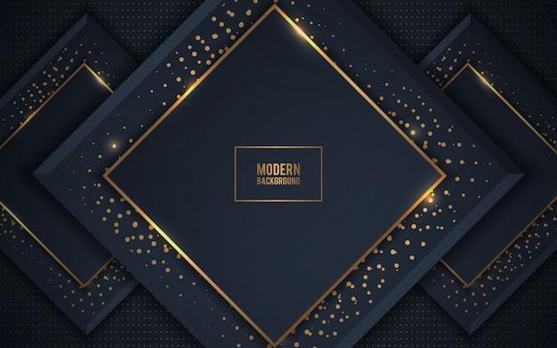 Sfondo scuro di sovrapposizione di strati di lusso con glitter dorati