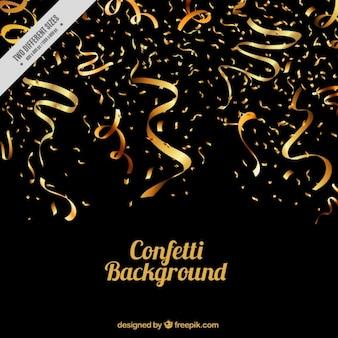 Sfondo scuro serpentina e coriandoli d'oro