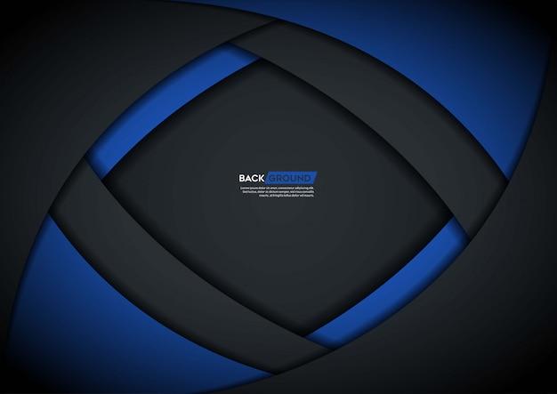 Sfondo scuro sovrapposto strato con forma blu