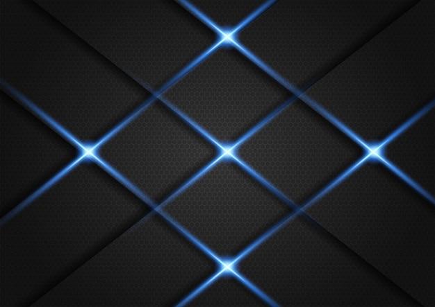 Sfondo scuro sovrapposto strato con glitter argento e luce blu