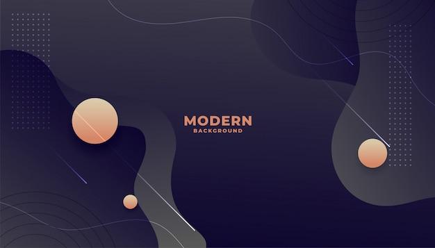Sfondo scuro stile fluido moderno con forme curve