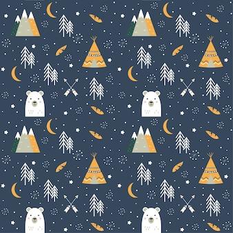 Sfondo senza soluzione di continuità con l'orso, wigwam, frecce, montagne e alberi