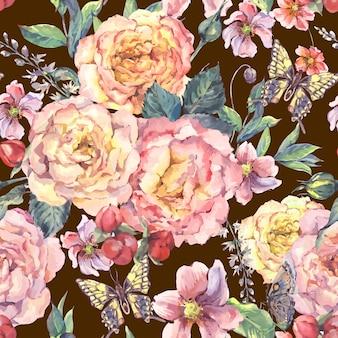 Sfondo senza soluzione di continuità con rose e farfalle
