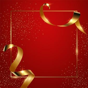 Sfondo sfumato rosso con bordo geometrico sottile e nastri dorati e coriandoli, banner lucido con copyspace