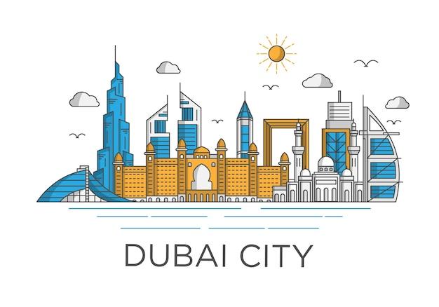 Sfondo skyline della città di dubai con il concetto iconico
