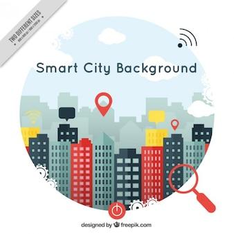 Sfondo smart city in design piatto con icone