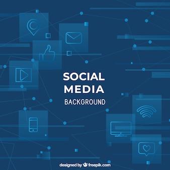 Sfondo sociale dei media con design piatto
