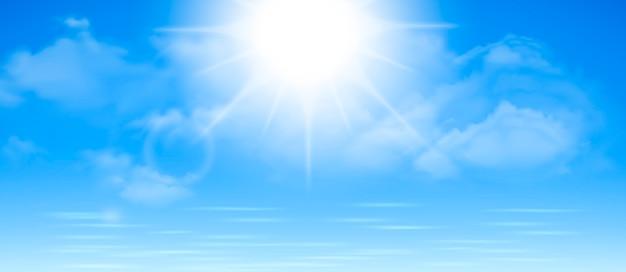 Sfondo soleggiato, cielo blu con nuvole bianche e sole, illustrazione.