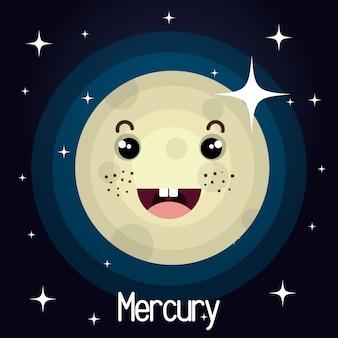 Sfondo spazio personaggio del pianeta mercurio