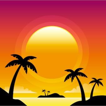 Sfondo spiaggia al tramonto
