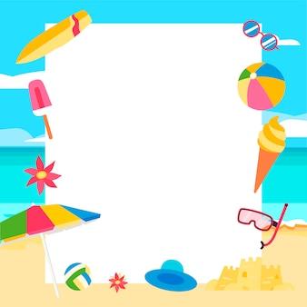 Sfondo spiaggia concetto di estate con elementi di cartone animato