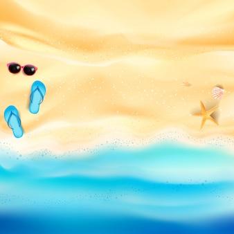 Sfondo spiaggia di sabbia e mare