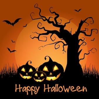 Sfondo spooky halloween con albero spaventoso e zucche