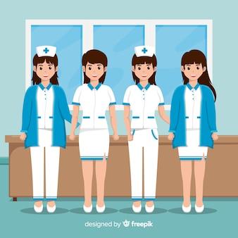 Sfondo squadra infermiera piatto